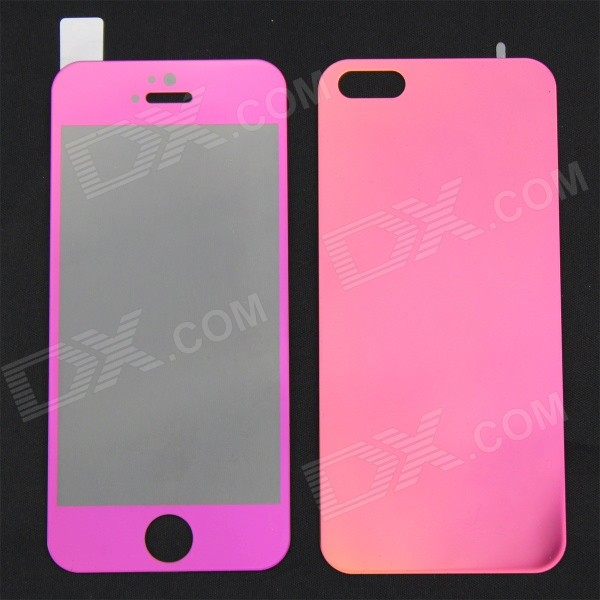 MO.MAT Mirror Tempered Glass Front + Back Protectors for IPHONE 5 / 5S - Deep Pink front and back tempered glass protectors set for iphone 5 5s camouflage green