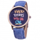 Retro Zinc Alloy Case Denim Band Quartz Analog Wrist Watch - Blue (1 x SR626SW)
