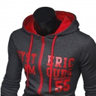 1411B-W05 Men's Fashionable Letters Printed Cotton Hooded Sweater - Gray + Red (L)