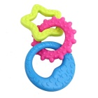 Sun / Moon / Star Shaped Rubber Tooth Cleaning Toy for Pet Cat / Dog - Blue + Deep Pink