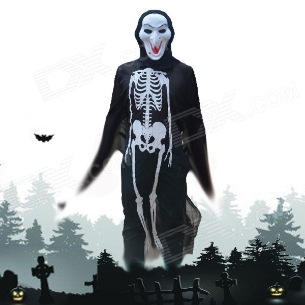 Halloween Costumes Scary Witch Mask + Skeleton Patterned Coat Set - Black + White