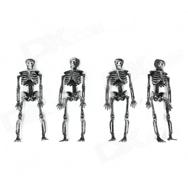 Halloween Plastic Skeleton Frame Hanging Decoration - Silver Black (4 PCS)
