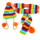 Rainbow Super Cute Warm Socks + Hat + Scarf Three-Piece Set for Pet Cat / Dog - Orange + Green (M)