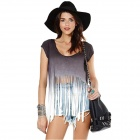 Fashion Women's Fringed Hem Short Sleeve Crew Neck Cotton T-shirt - Grey + White (L)