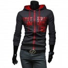1411B-W05 Men's Fashionable Letters Printed Hooded Sweater - Gray + Red (XXL)