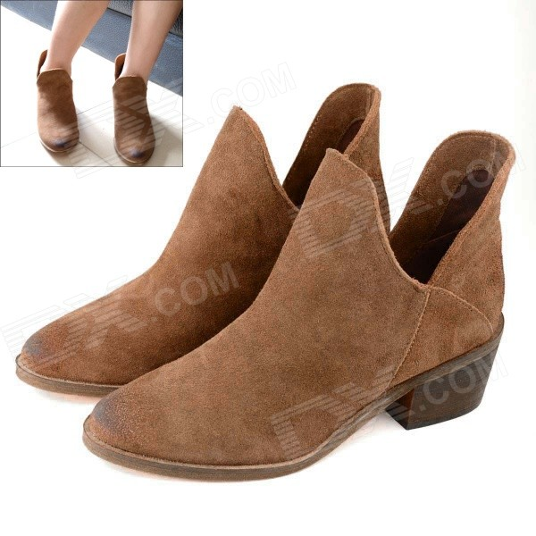Retro Cow Leather + Rubber Thick Heel Ankle Boot - Brown (Pair / 37)