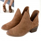 Retro Kuh-Leder + Gummi Thick Heel Ankle Boot - Brown (Pair / 40)