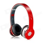 Foldable On-ear Wireless Stereo Bluetooth Headphones w/ MP3, FM & TF Card Reader - Red + Silver