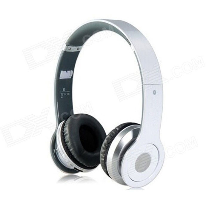 Foldable On-ear Wireless Stereo Bluetooth Headphones w/ MP3, FM & TF Card Reader - White + Silver foldable on ear wireless stereo bluetooth headphones headset supports fm