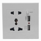 AC Power Socket + Dual-USB Socket Wall Panel - White