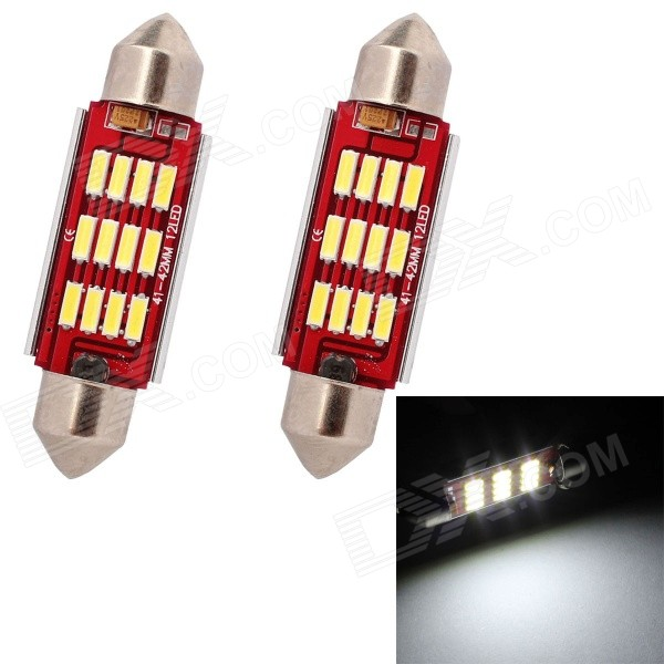 MZ Festoon 42mm 6W 240LM 6500K 12-7014 SMD LED White Light Car Reading Lamp (12V / 2 PCS)