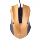 JM-312 Stylish Checked Pattern USB 2.0 Wired 1200 dpi Gaming Mouse - Golden