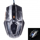 JM-1906 USB 2.0 Wired 800 / 1200 / 1600 dpi Gaming Mouse w/ Blue Light - Grey + Black