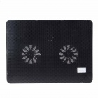 K63 Ultra-quiet USB Powered 2-Fan Cooling Pad for 14 inch Laptops - Black