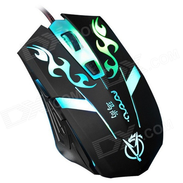 MaShang X9 Professional USB 2.0 Wired 800/1200/1600/2400DPI Gaming Mouse w/ Colorful LED - Black