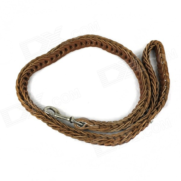Top Layer Cow Leather Large Dog Rope Leash - Coffee (125cm) jmd top layer cow leather bag soft messenge bag with zipper