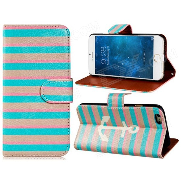 Stripes Pattern PU Leather Flip-open Case w/ Stand + Card Slot for IPHONE 6 4.7 - Pink + Blue cute owl pattern pu leather flip open case w stand card slot for iphone 4 4s multi color
