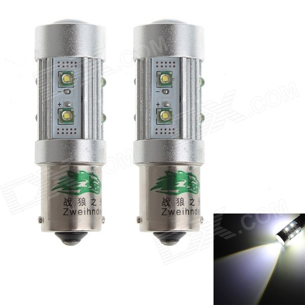 Zweihnder 1156 50W 4500LM 6000K White Light Fog Light Bulb w/ 10xCree XP-E for Car (12-24V,2PCS)