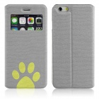 "ENKAY Footprint Patterned PU Leather Full Body Case w/ Stand / Window for IPHONE 6 4.7"" - Gray"