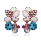 Women's Fashion Flower Shaped Zinc Alloy Earrings - Golden + Multi-Color (Pair)