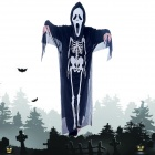 Halloween Costumes Scary Screaming Ghost Mask + Skeleton Patterned Coat Set - Black + White