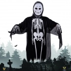 Halloween Costumes Scary Round-Face Ghost Mask + Skeleton Patterned Coat Set - Black + White