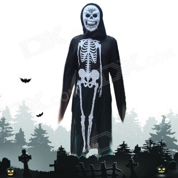 Halloween Costumes Scary Skull Mask + Skeleton Patterned Coat Set - Black + Beige airsoft adults cs field game skeleton warrior skull paintball mask