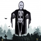 Halloween Costumes Scary Skull Mask + Skeleton Patterned Coat Set - Black + Beige