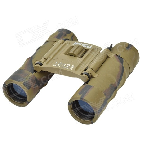 JinjuLi 12X25 Waterproof FMC Green Film + Blue Film HD 12X Night Vision Binoculars Telescope