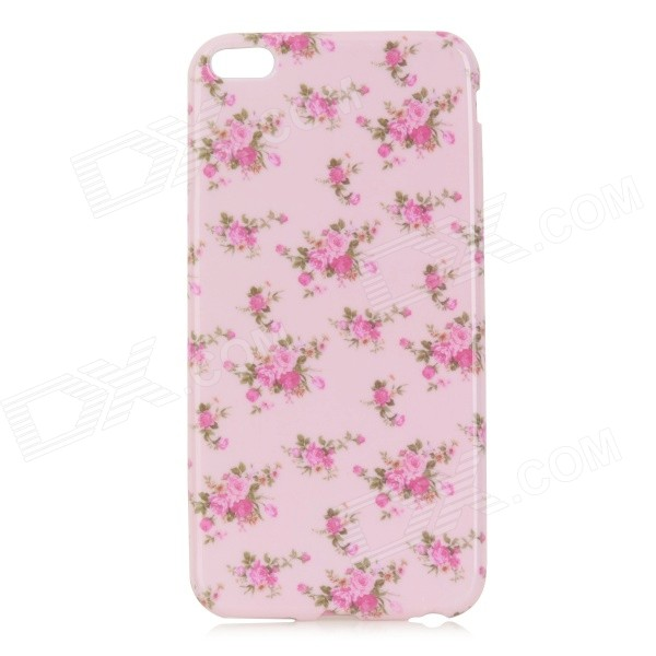 Flowers Pattern TPU Back Case for IPHONE 6 PLUS - White + Pink cat pattern protective pc back case for iphone 6 4 7 white pink multi color