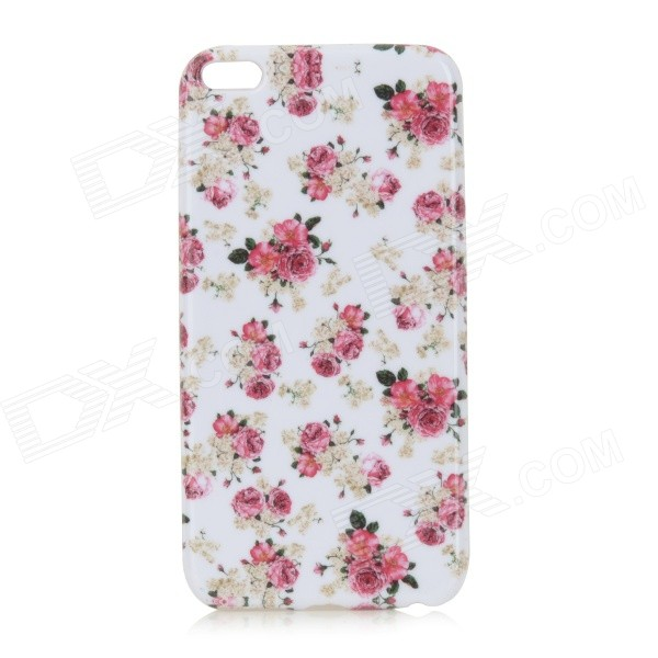 Rose Pattern Protective TPU Back Case for IPHONE 6 PLUS - White + Red holes pattern protective tpu back case for iphone 6 plus 5 5 red