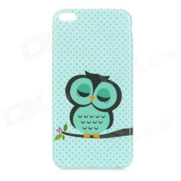 Owl Pattern Protective TPU Back Case for IPHONE 6 PLUS - Green + Black transparent tpu material spindrift pattern and diamond design protective back cover case for iphone 6 plus 5 5 inches
