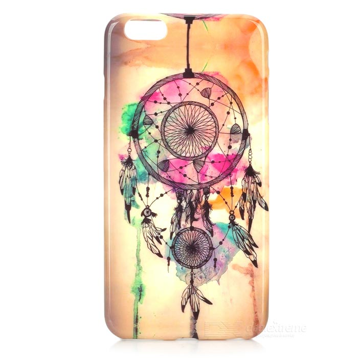 Windbell Patterned Protective TPU Back Case Cover for IPHONE 6 PLUS - Beige + Green tpu imd patterned gel cover for iphone 7 4 7 inch dream catcher