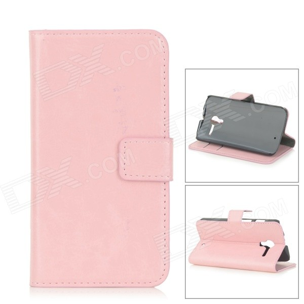 Protective Flip-Open PU Leather Case w/ Card Slots for Motorola Moto X - Pink