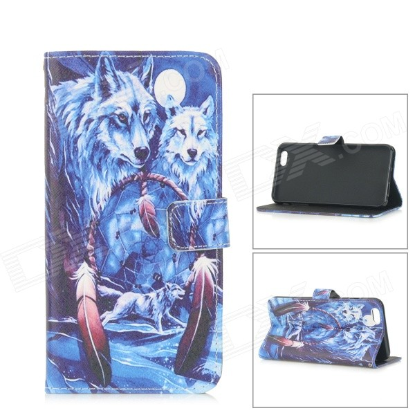 Wolf Patterned Protective Flip-Open TPU + PU Leather Case for IPHONE 6 PLUS - Blue + White mercury goospery blue moon magnetic leather case for iphone 6s plus 6 plus dark blue