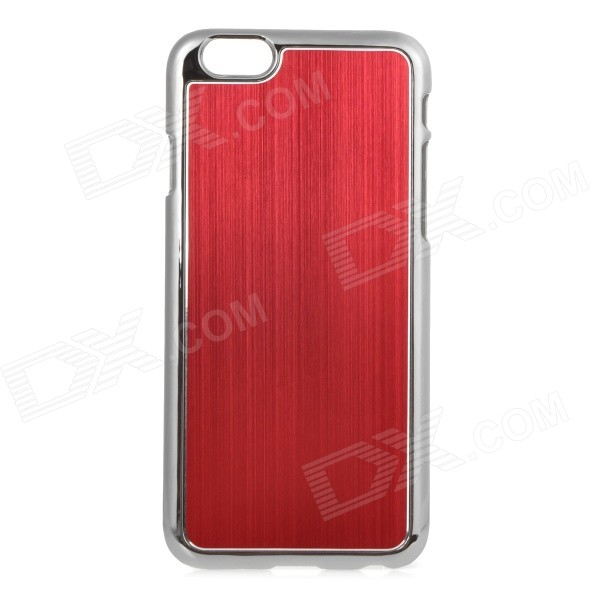 Protective Plastic + Aluminum Alloy Wiredrawing Back Case for IPHONE 6 4.7 - Red nillkin protective matte plastic back case w screen protector for iphone 6 4 7 golden