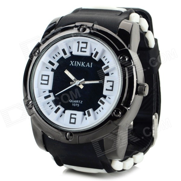 XINKAI Men's Fashion Silicone Band Analog Quartz Sport Wrist Watch - Black + White (1 x 377) elegant steel band quartz analog wrist watch for women black silver 1 x 377