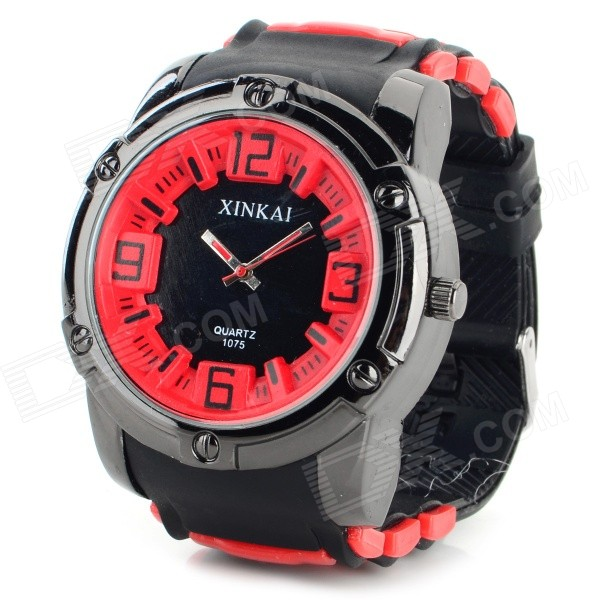 XINKAI Men's Fashion Silicone Band Analog Quartz Sport Watch - Black + Red (1 x 377)