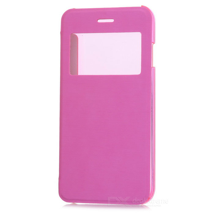 Flip-Open Protective PU Case Cover w/ View Window for IPHONE 6 4.7 - Pink + Translucent usams ip4sxk04 protective flip open case w display window for iphone 4 4s deep pink