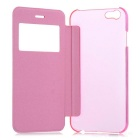 "Flip-Open Protective PU Case Cover w/ View Window for IPHONE 6 4.7"" - Pink + Translucent"