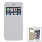"Flip-Open Protective PU Case Cover w/ View Window for IPHONE 6 4.7"" - White + Transparent"