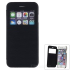"Flip-Open Protective PU Case Cover w/ View Window for IPHONE 6 4.7"" - Black + Translucent"