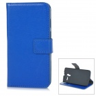 Proteção Flip-Open PU Leather Case w / Stand + Card Slot para Motorola Moto X - Deep Blue