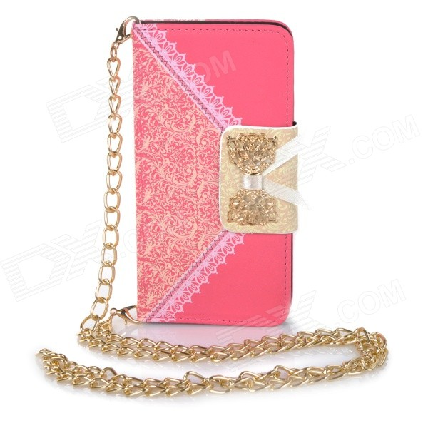 Stylish Purse Style PU + TPU Protective Case w/ Stand + Card Slot for IPHONE 6 4.7 - Deep Pink metal chain handbag style pu tpu full body case w card slot for iphone 6 4 7 gold