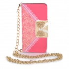 "Stylish Purse Style PU + TPU Protective Case w/ Stand + Card Slot for IPHONE 6 4.7"" - Deep Pink"