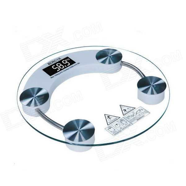 cptcam cp-915 Round Electronic Scale w/ Round Tempered Glass Surface - White (Max. 180kg)