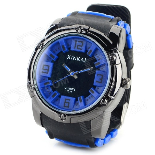 XINKAI Men's Fashion Silicone Band Analog Quartz Sport Watch - Black + Deep Blue (1 x 377)