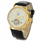 CJIABA Men's Fashion PU Band Analog Mechanical Watch - Golden + Black