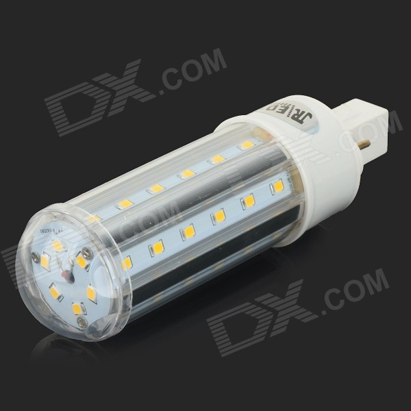 JRLED G24 10W 800lm 3200K 42-SMD 2835 LED Warm White Corn Lamp - White + Silver (AC 85~265V) - DXOther Connectors<br>Suitable for home and office lighting; Low power consumption<br>
