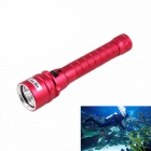 KINFIRE 1500lm Dimming IP68 Diving Flashlight w/ 3 x CREE XM-L2 U2 - Red (2 x 18650)